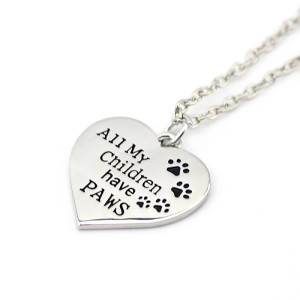 All my children have paws - pendant necklace