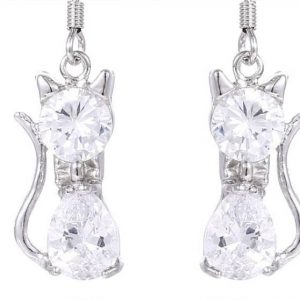 Cubic Zirconia Drop Style Cat Earrings