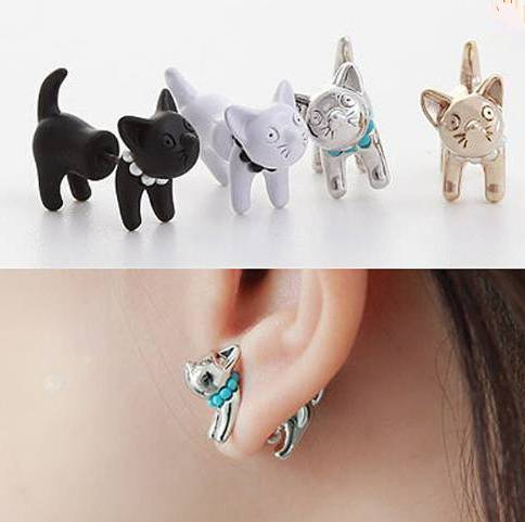 Cat Earrings Front and Back