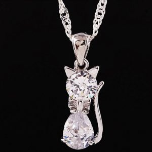 Cat Necklace - cubic zirconia and stainless silver