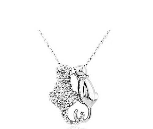 Cat Necklace -Two Cats Silver with cyrstals