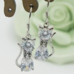 cubic zirconia cat dangle earrings