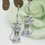 cubic zirconia cat dangle earrings