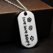 Live Love Adopt Pendant Necklace - Jewelry for animal lovers