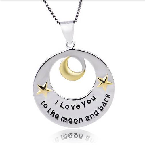 I love you to the moon and back necklace, silver