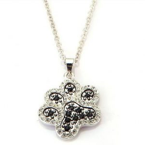 Paw print necklace with rhinestones