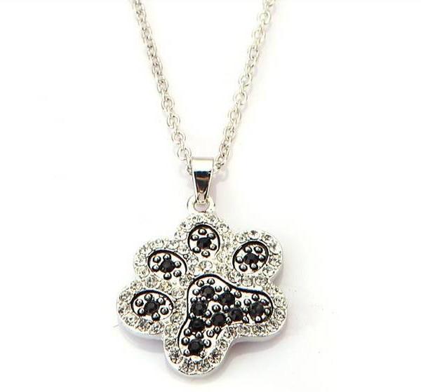 Paw print necklace with rhinestones