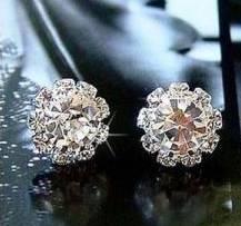 Round crystla stud earrings