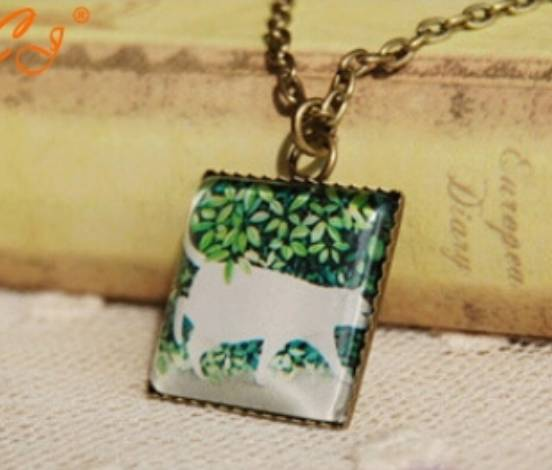White cat necklace - jewelry for cat lovers