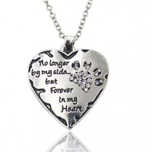 Pet Memorial Necklace - no longer by my side but forever in my heart - with clear crystals