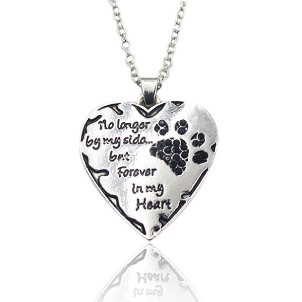 "Pet memorial necklace - ""no longer by my side but forever in my heart"" with black crystals."