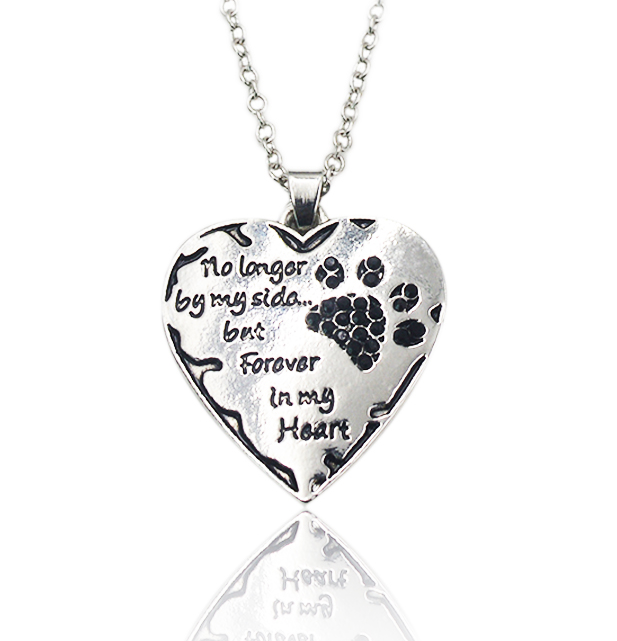 """Pet memorial necklace - """"no longer by my side but forever in my heart"""" with black crystals."""