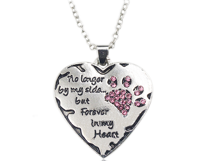 Pet Memorial - No Longer by My Side But Forever In My Heart Necklace with Pink Crystals