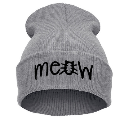 Grey Knit Meow Hat